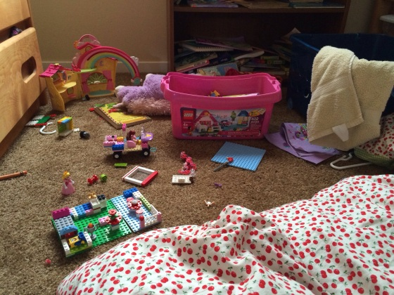 This is Sophia's room - Spongebob is sleeping, Princess Peach is clearly being a stalker, and a Lego Friend is cruising in her custom ride.  Also there's a totally destroyed bookcase in the back, with books that have been consumed with gusto - at 9pm when Sophia *should* be sleeping.  :P