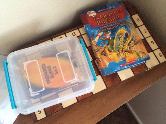 A Geronimo Stilton book, microscope slides, and Nola's wooden chess set.